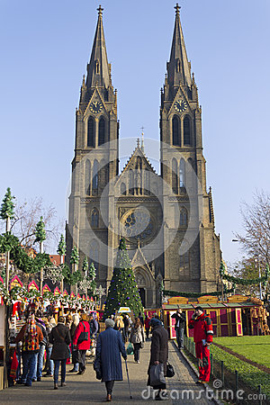 Saint Ludmila Church with christmas markets Editorial Stock Photo