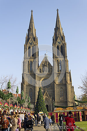 Saint Ludmila Church with christmas markets Editorial Stock Image