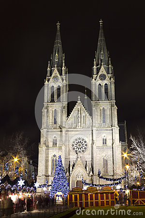 Saint Ludmila Church with christmas markets -night