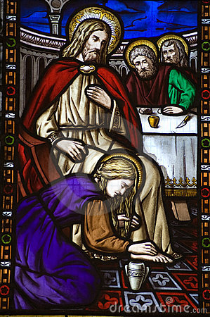 Saint Mary Magdalen footwashing Stained Glass Wind