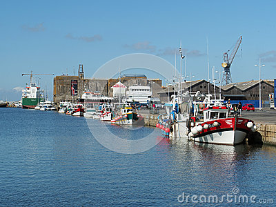 Saint Nazaire, France - august 2013,  harbor with fishing boats Editorial Image