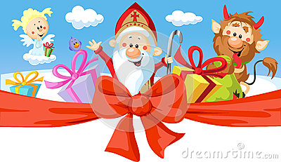 Saint Nicholas, devil and angel