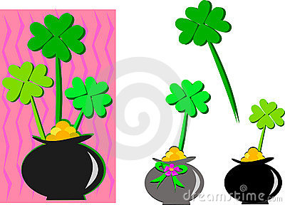 Saint Patrick Clovers in a Pot of Gold