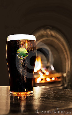 Saint Patrick s Irish black beer in a pub
