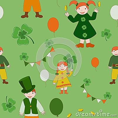 Saint Patricks Day cute kids pattern