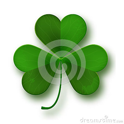 Saint Patricks Day shamrock leaf symbol isolated on white Vector Illustration