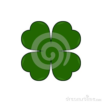 Vector Saint Patricks Day symbol - four-leaf clover. Lucky shamrock. Isolated on white background. Vector Illustration