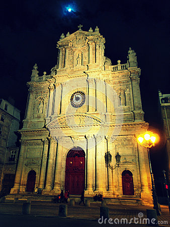 Free Saint Paul - Saint Louis Church At Night, Paris Stock Photo - 27968880