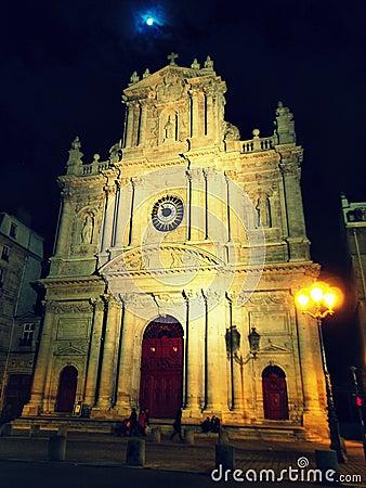Saint Paul - Saint Louis church at night, Paris