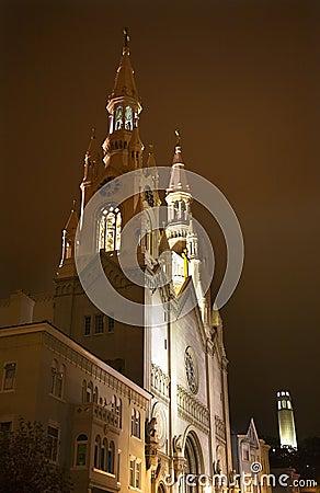 Saint Peter Church Coit Tower Night San Francisco