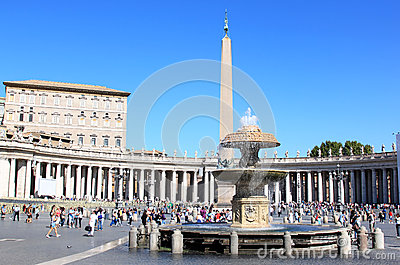 Fountain and Egyptian obelisk at the Piazza San Pietro, Rome Editorial ...