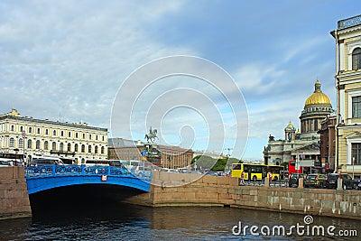 Saint-Petersburg, Blue bridge on the river Moika
