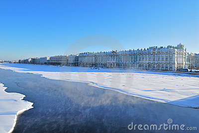 Saint-Petersburg. Palace Embankment in winter