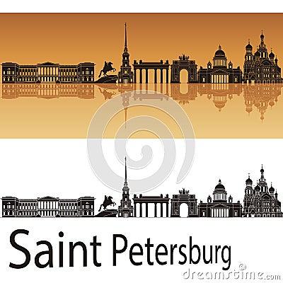 Saint Petersburg skyline in orange background