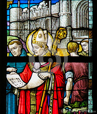 Saint Rumbold - Stained Glass in Mechelen Cathedral Stock Photo