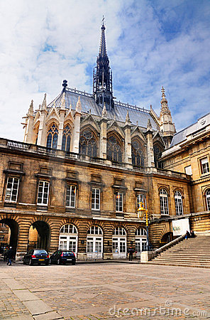 Sainte-Chapelle and Palais de Justice Editorial Stock Image