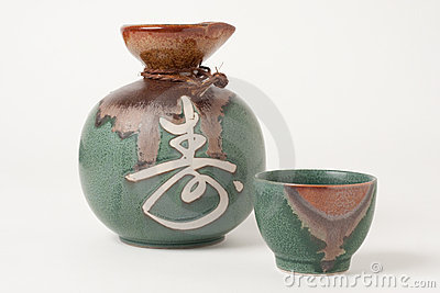 Sake cup and jug
