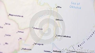 Sakhalin Island on a map.
