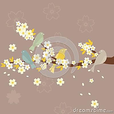 Sakura and Birds