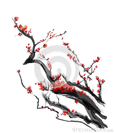 Sakura, cherry blossom plum chinese brush painting