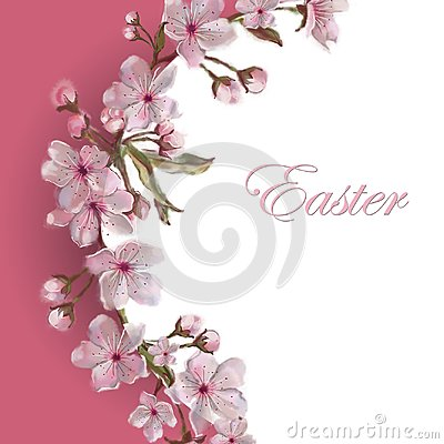 Free Sakura Flower Wreath Template. Copy Space Isolated On White. Apple/Almond/Cherry Blooms. Easter, Mother`s Day, Valentine, Wed Royalty Free Stock Photos - 112220008