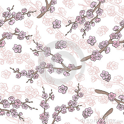Sakura graphic flower branch color seamless pattern sketch illustration Vector Illustration