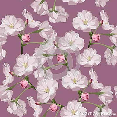 Free Sakura. Seamless Pattern. Pink Cherry Blossom Branches. Spring Botanical Illustration. Royalty Free Stock Photos - 138733598