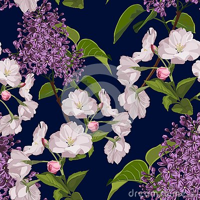 Free Sakura. Seamless Pattern. Pink Cherry Blossom Branches With Lilac. Stock Photography - 138733412