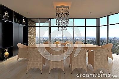 Sala da pranzo di progettazione moderna | Interno del salone