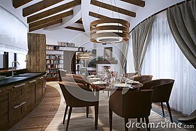 Sala Da Pranzo In Uno Stile Moderno Illustrazione Di Stock