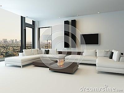 Sala De Estar Blanca Moderna Con Muebles De Madera Stock de ...