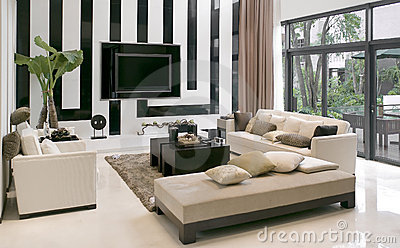 Living Room Modern Furniture on Royalty Free Stock Images  Living Room With The Modern Furniture