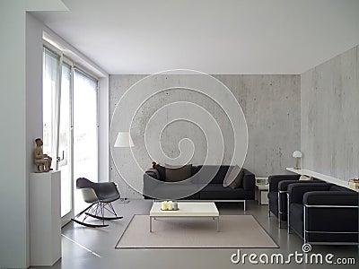 Interior moderno de la sala de estar con el gabinete y la pared de ...