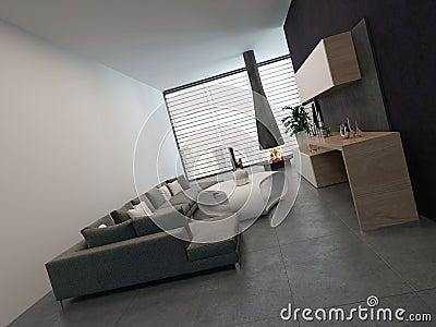 Interior blanco de la sala de estar con muebles modernos ...