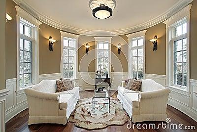 Sala de visitas com scones da iluminação