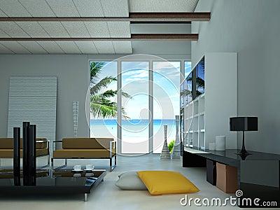 Sala de visitas moderna com vista em uma praia.