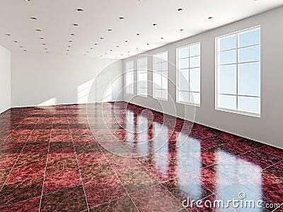 A sala grande com janela