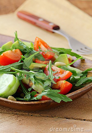 Salad with arugula and cherry tomatoes