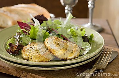 Salad with baked goat cheese