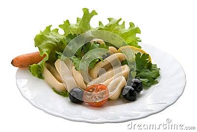 Salad with Calamari Rings