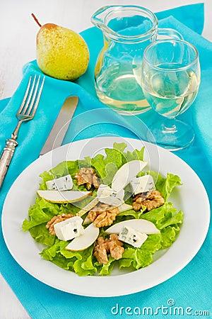 Salad with cheese gorgonzola, pear