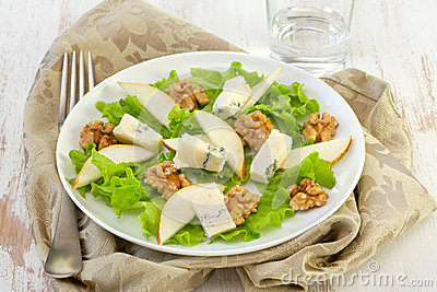 Salad with cheese, pears