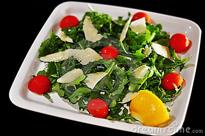 Salad With Cheese And Tomatoes Stock Image - Image: 15127331