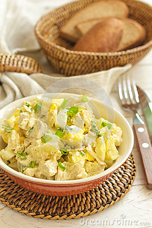 Salad of chicken breast with pineapple