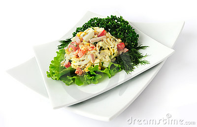 A salad of corn and Chinese cabbage
