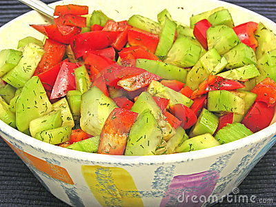 Salad of cucumber and red pepper