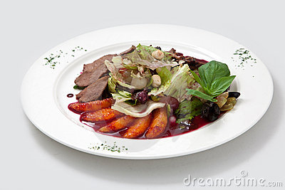 Salad from duck meat, oranges
