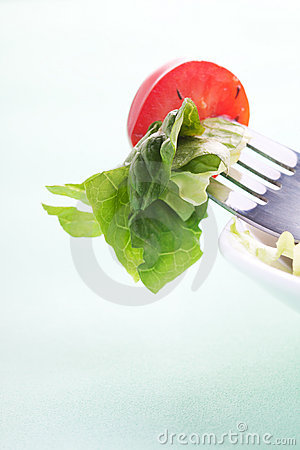 Salad on  the fork