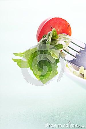 Salad on  the fork