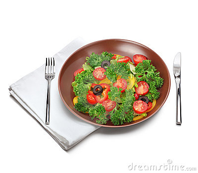 Salad with fork and knife